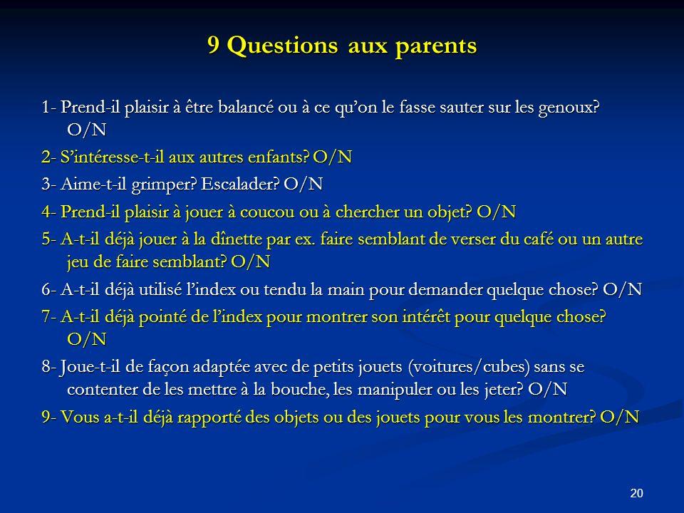 20 9 Questions aux parents 1- Prend-il plaisir à être balancé ou à ce quon le fasse sauter sur les genoux.
