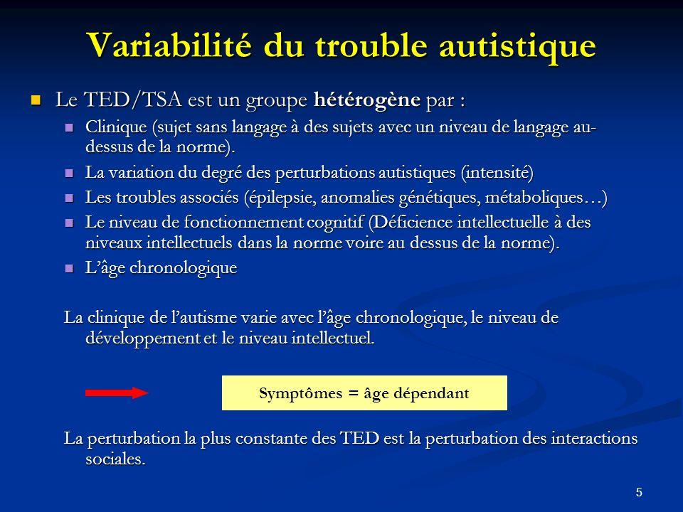 5 Variabilité du trouble autistique Le TED/TSA est un groupe hétérogène par : Le TED/TSA est un groupe hétérogène par : Clinique (sujet sans langage à des sujets avec un niveau de langage au- dessus de la norme).