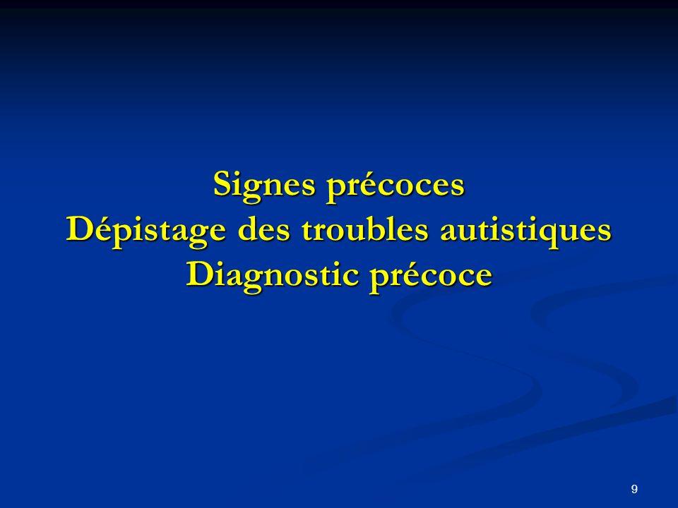 9 Signes précoces Dépistage des troubles autistiques Diagnostic précoce
