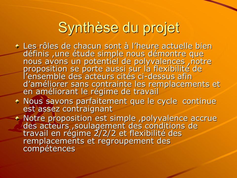 Synthèse du projet Les rôles de chacun sont à lheure actuelle bien définis,une étude simple nous démontre que nous avons un potentiel de polyvalences,