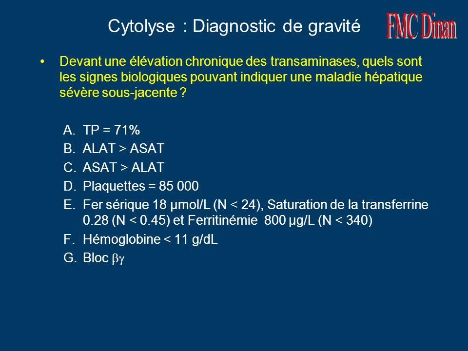Cytolyse : Diagnostic de gravité Devant une élévation chronique des transaminases, quels sont les signes biologiques pouvant indiquer une maladie hépatique sévère sous-jacente .