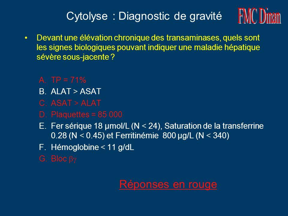 Cytolyse : Diagnostic de gravité Devant une élévation chronique des transaminases, quels sont les signes biologiques pouvant indiquer une maladie hépa
