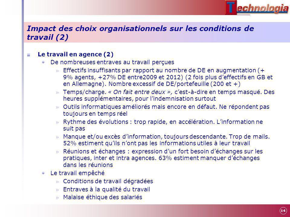 Impact des choix organisationnels sur les conditions de travail (2) Le travail en agence (2) De nombreuses entraves au travail perçues » Effectifs ins