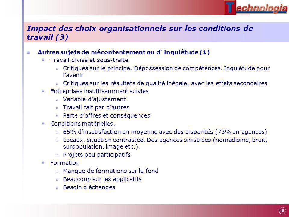 Impact des choix organisationnels sur les conditions de travail (3) Autres sujets de mécontentement ou d inquiétude (1) Travail divisé et sous-traité