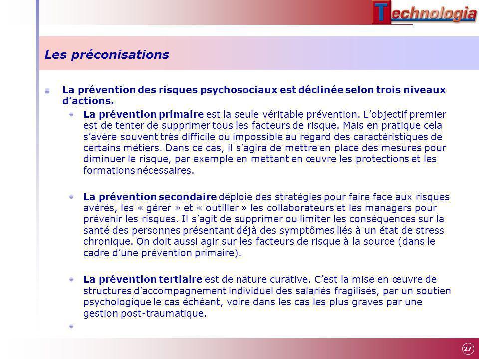 Les préconisations La prévention des risques psychosociaux est déclinée selon trois niveaux dactions. La prévention primaire est la seule véritable pr