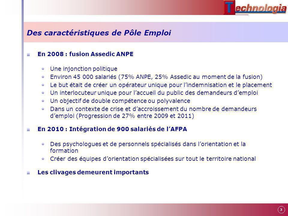 3 Des caractéristiques de Pôle Emploi En 2008 : fusion Assedic ANPE Une injonction politique Environ 45 000 salariés (75% ANPE, 25% Assedic au moment