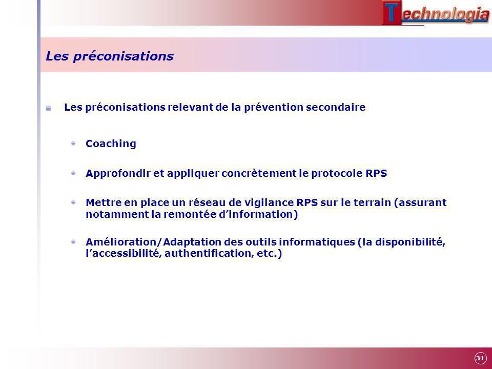 Les préconisations Les préconisations relevant de la prévention secondaire Coaching Approfondir et appliquer concrètement le protocole RPS Mettre en p
