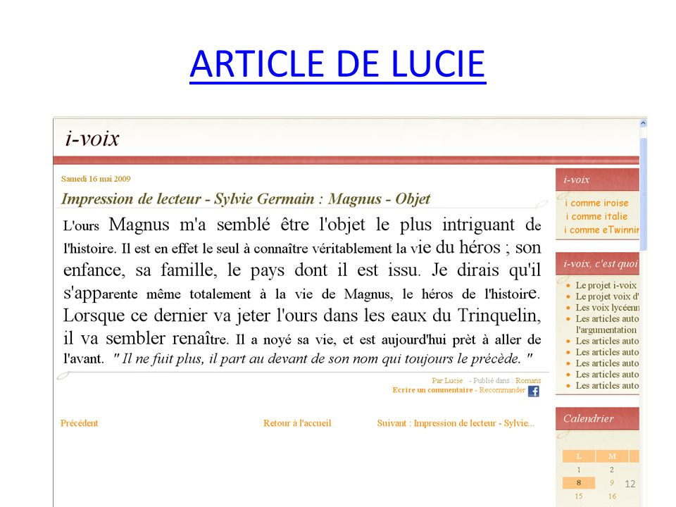 ARTICLE DE LUCIE 12