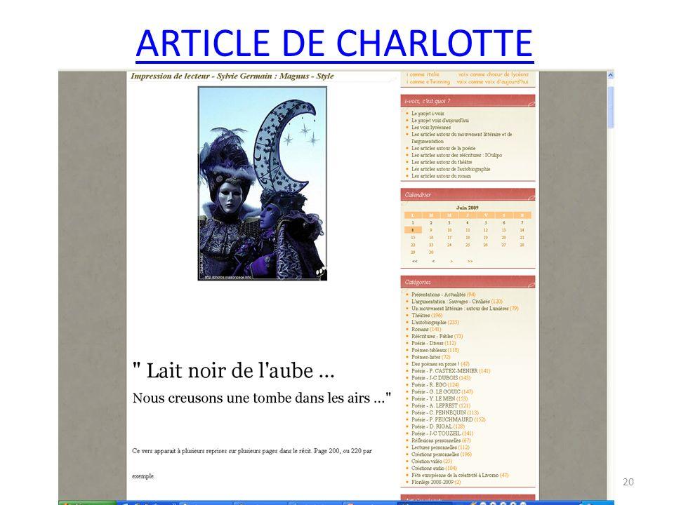 ARTICLE DE CHARLOTTE 20