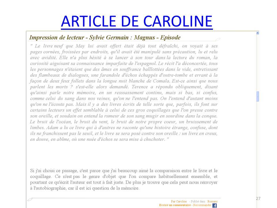 ARTICLE DE CAROLINE 27