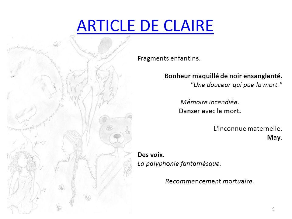 ARTICLE DE CLAIRE Fragments enfantins. Bonheur maquillé de noir ensanglanté.