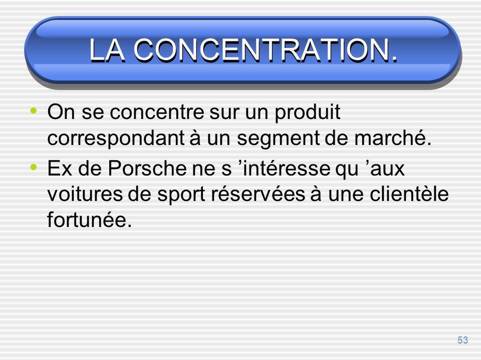 52 LE CIBLAGE-Choix des segments LA CONCENTRATION LA SPECIALISATION PAR PRODUIT LA SPECIALISATION PAR MARCHE LA SPECIALISATION SELECTIVE LA COUVERTURE GLOBALE (marketing différencié, indifférencié)