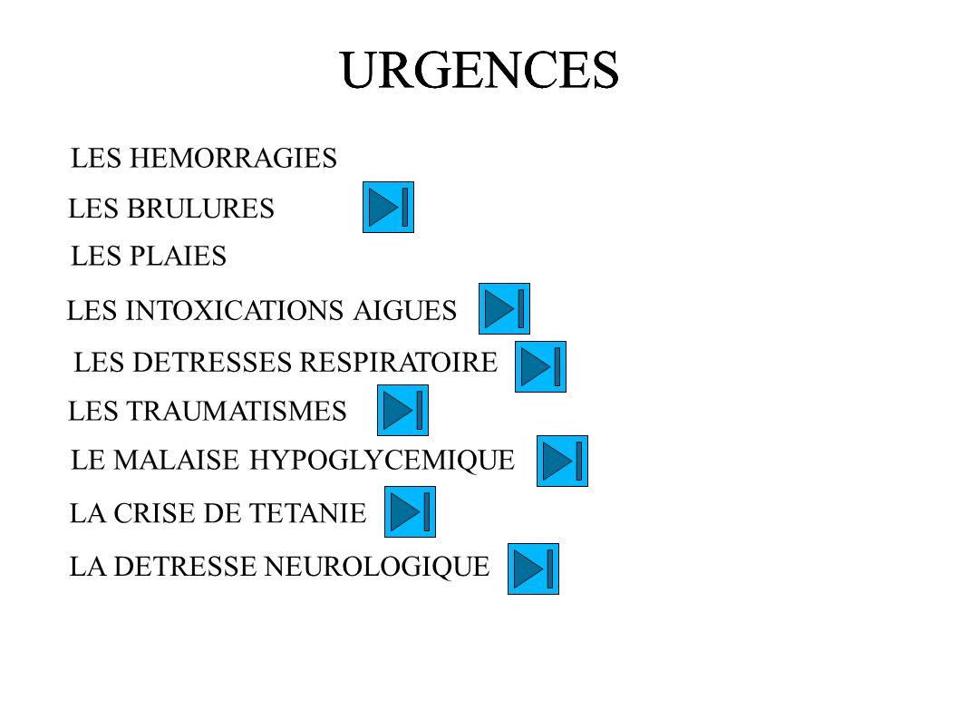 URGENCES LES HEMORRAGIES LES BRULURES LES PLAIES LES INTOXICATIONS AIGUES LES TRAUMATISMES LE MALAISE HYPOGLYCEMIQUE LA CRISE DE TETANIE LA DETRESSE N