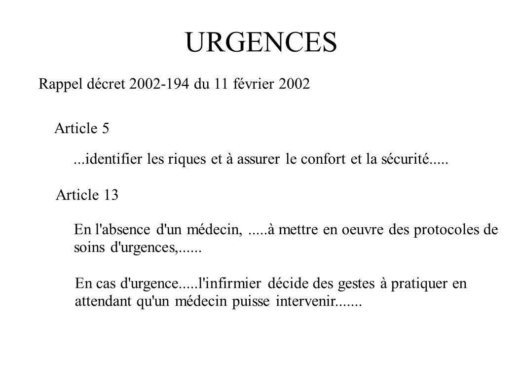 URGENCES Rappel décret 2002-194 du 11 février 2002 Article 5...identifier les riques et à assurer le confort et la sécurité..... Article 13 En l'absen