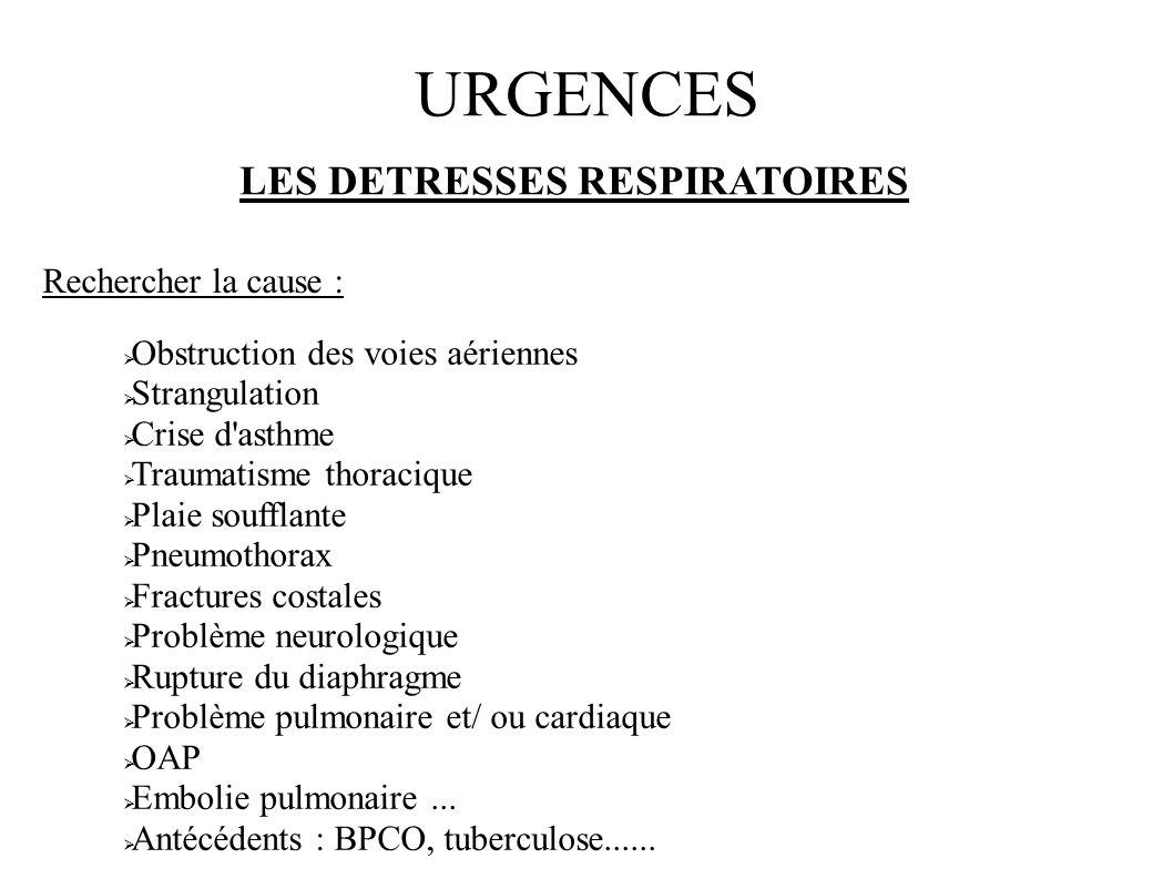 URGENCES LES DETRESSES RESPIRATOIRES Rechercher la cause : Obstruction des voies aériennes Strangulation Crise d'asthme Traumatisme thoracique Plaie s