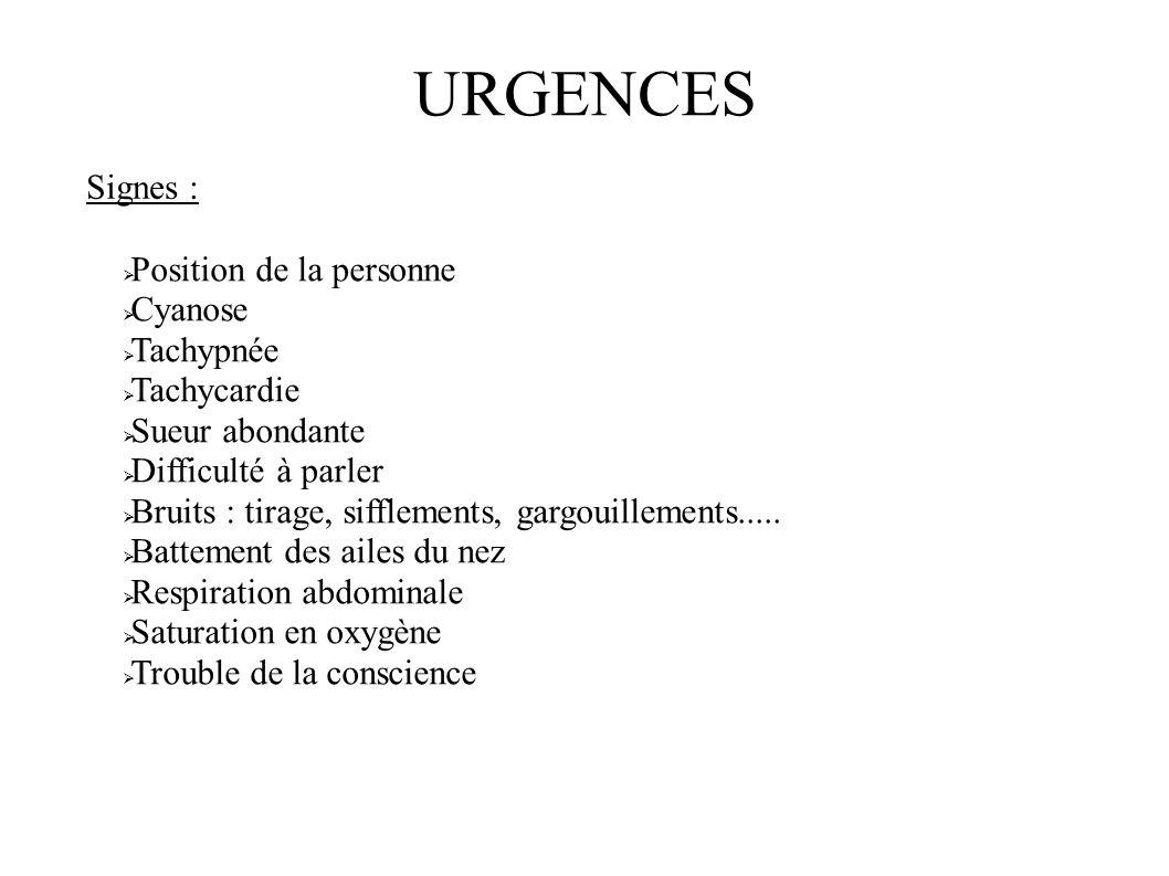 URGENCES Signes : Position de la personne Cyanose Tachypnée Tachycardie Sueur abondante Difficulté à parler Bruits : tirage, sifflements, gargouilleme