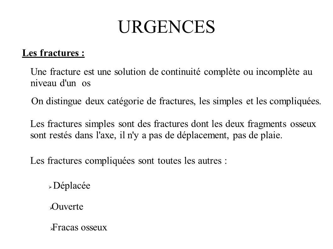 URGENCES Les fractures : On distingue deux catégorie de fractures, les simples et les compliquées. Les fractures simples sont des fractures dont les d