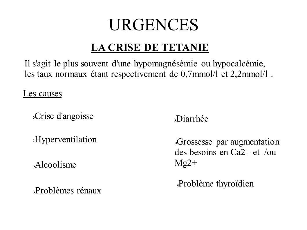 URGENCES LA CRISE DE TETANIE Il s'agit le plus souvent d'une hypomagnésémie ou hypocalcémie, les taux normaux étant respectivement de 0,7mmol/l et 2,2