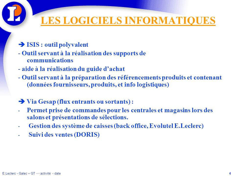 E.Leclerc - Galec – GT - - activité - date4 LES LOGICIELS INFORMATIQUES ISIS : outil polyvalent - Outil servant à la réalisation des supports de commu