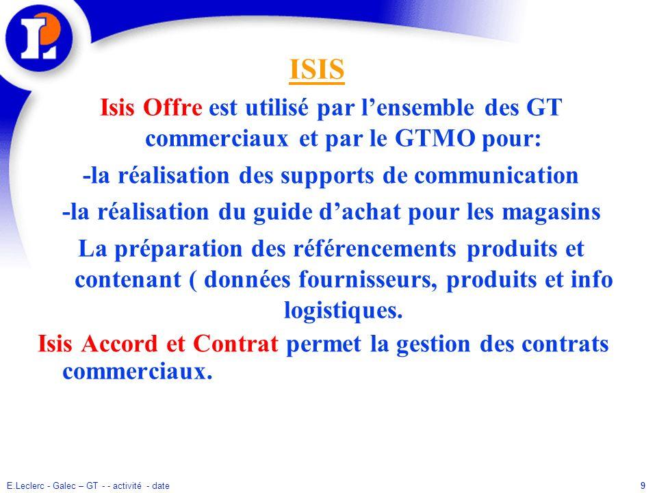 9 ISIS Isis Offre est utilisé par lensemble des GT commerciaux et par le GTMO pour: -la réalisation des supports de communication -la réalisation du g