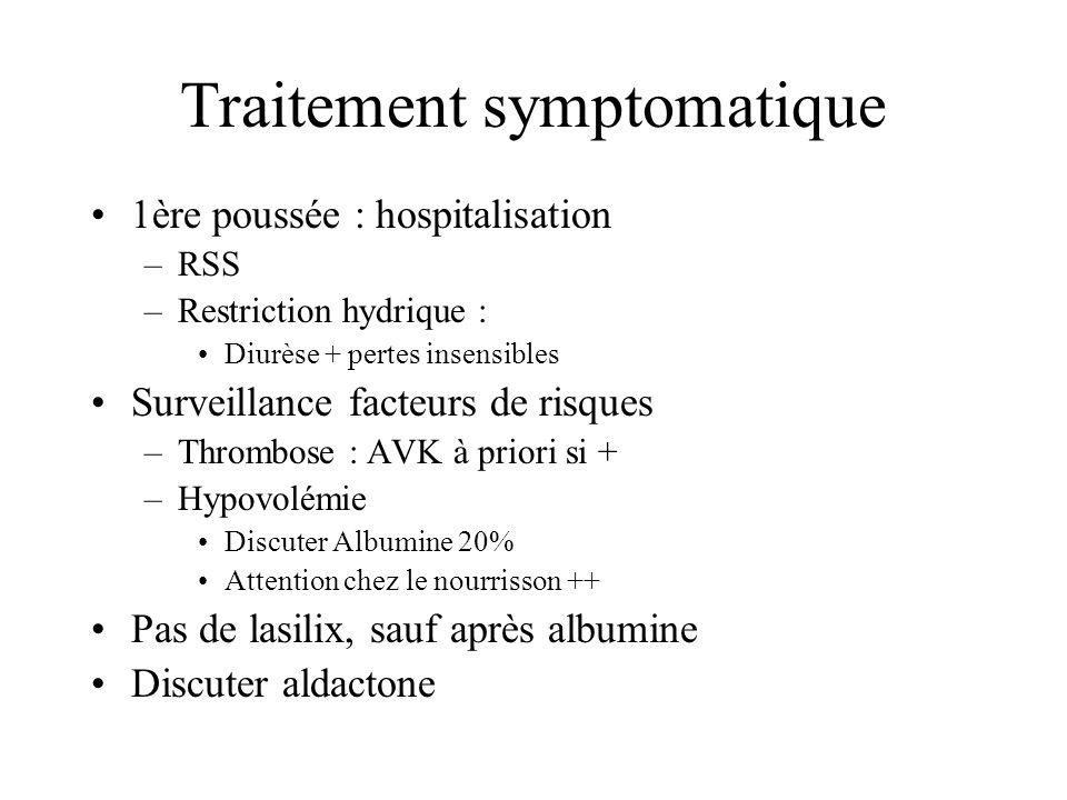 Traitement symptomatique 1ère poussée : hospitalisation –RSS –Restriction hydrique : Diurèse + pertes insensibles Surveillance facteurs de risques –Th
