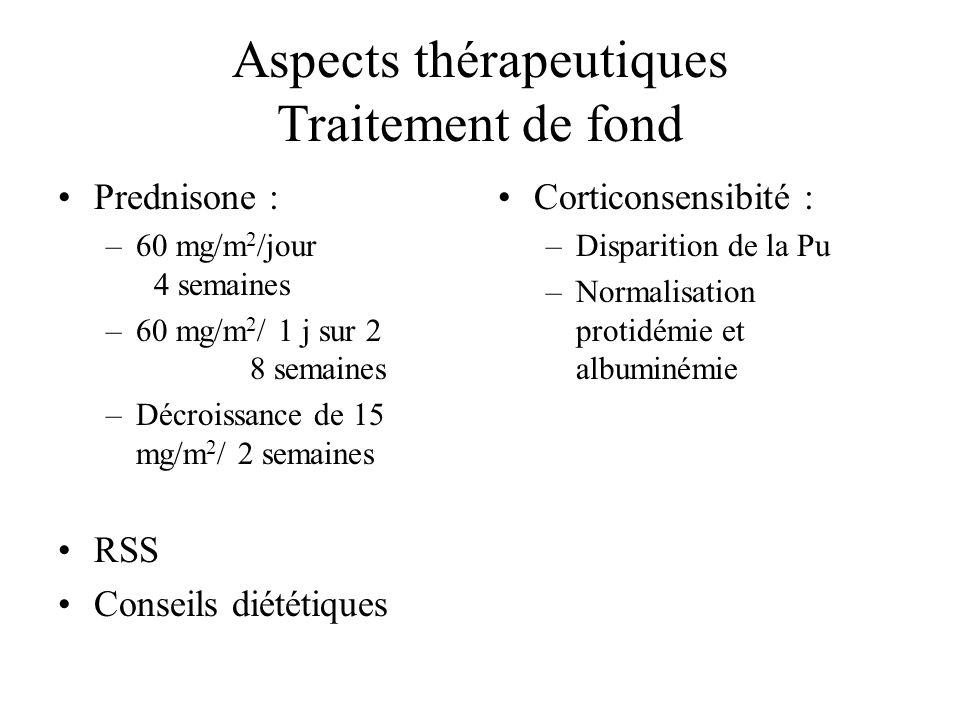 Aspects thérapeutiques Traitement de fond Prednisone : –60 mg/m 2 /jour 4 semaines –60 mg/m 2 / 1 j sur 2 8 semaines –Décroissance de 15 mg/m 2 / 2 se