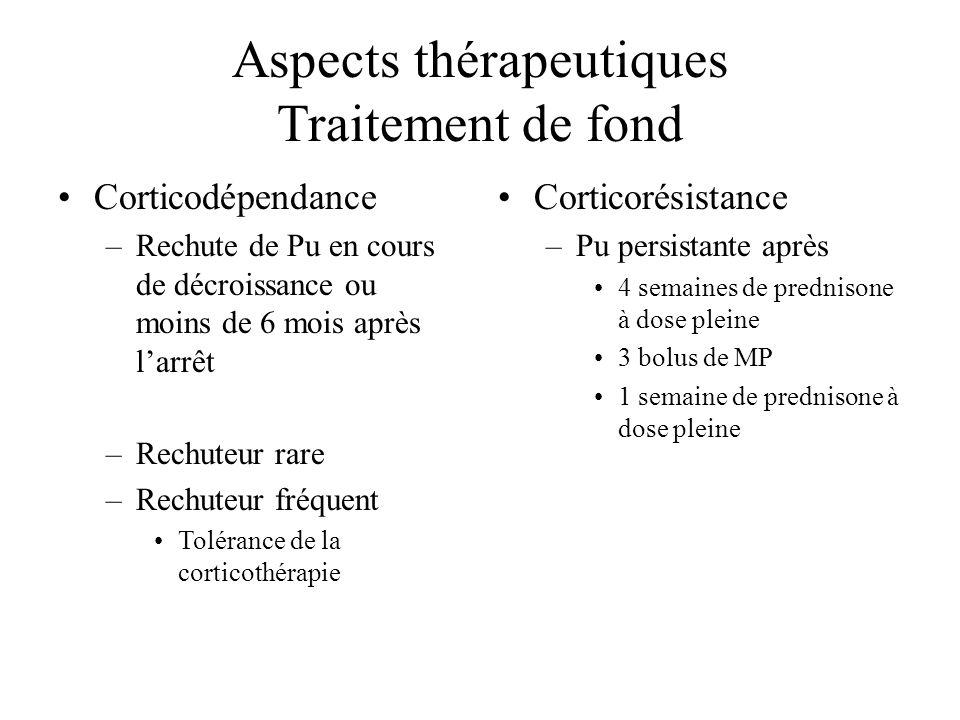 Aspects thérapeutiques Traitement de fond Corticodépendance –Rechute de Pu en cours de décroissance ou moins de 6 mois après larrêt –Rechuteur rare –R
