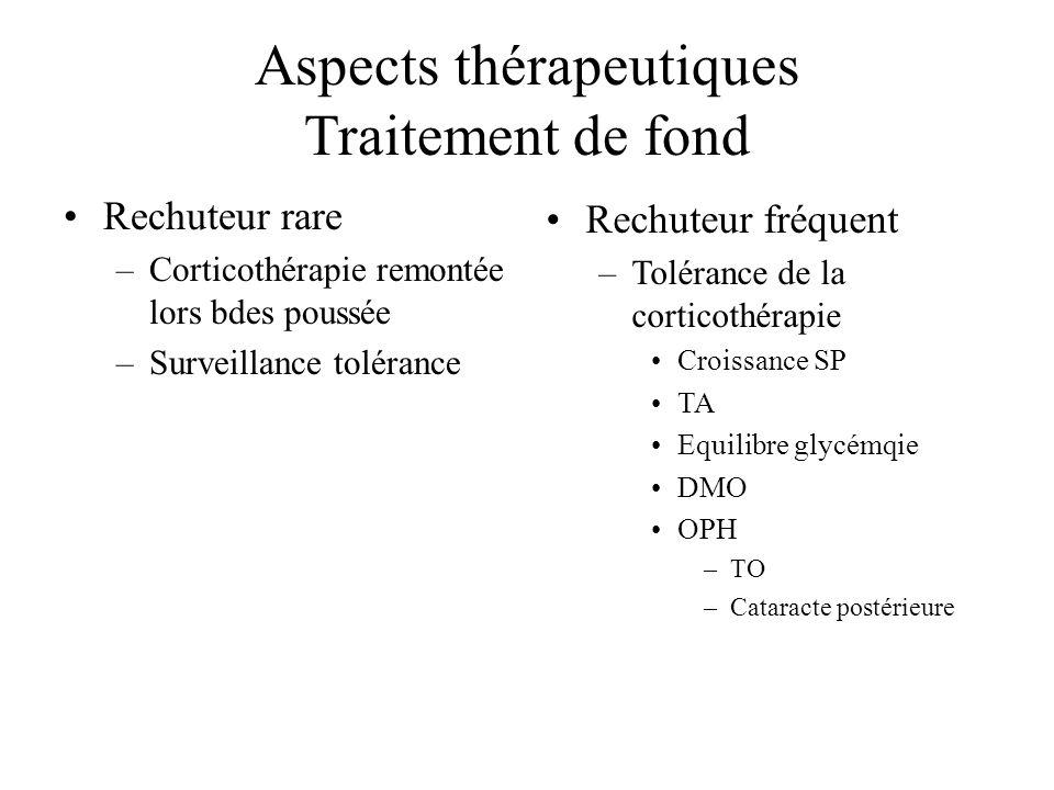 Aspects thérapeutiques Traitement de fond Bas niveau de corticodépedance –Discuter Ergamisole Haut niveau de corticodépedance avec « cortico-intoxication » –Endoxan Effets secondaires –Ciclosporine Effets secondaires –MMF Effets secondaires