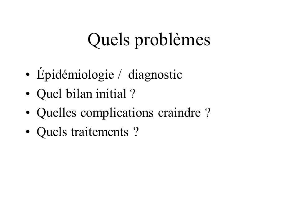 Quels problèmes Épidémiologie / diagnostic Quel bilan initial ? Quelles complications craindre ? Quels traitements ?