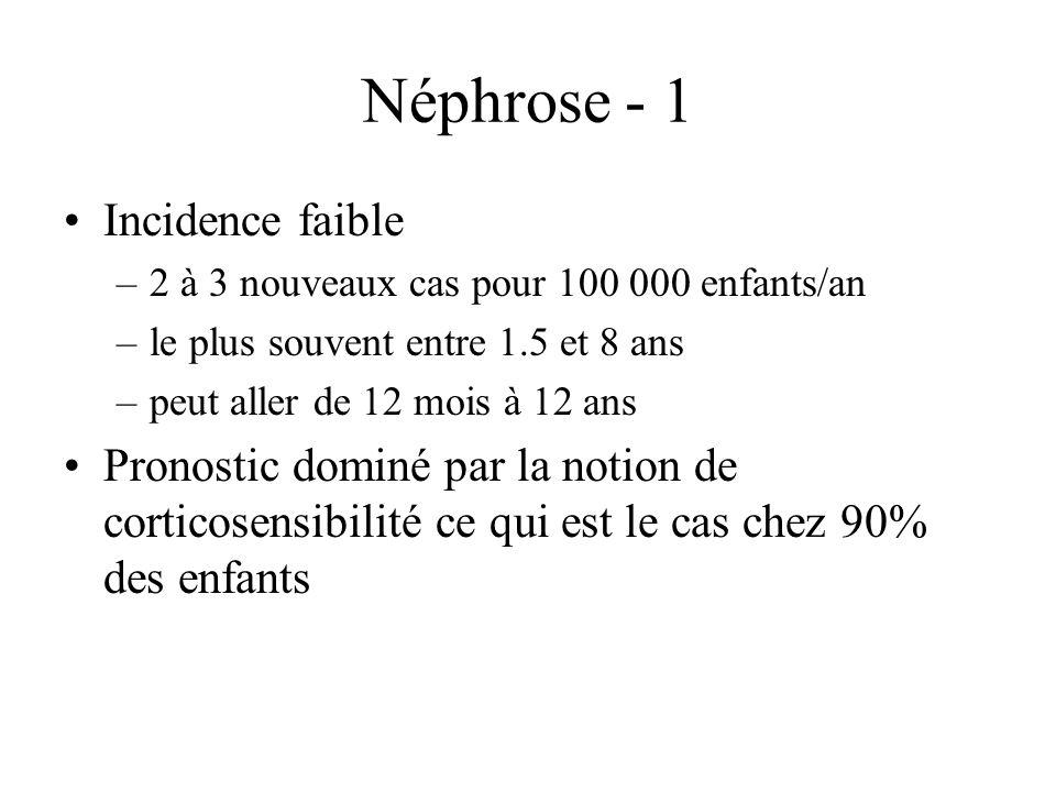 Néphrose - 1 Incidence faible –2 à 3 nouveaux cas pour 100 000 enfants/an –le plus souvent entre 1.5 et 8 ans –peut aller de 12 mois à 12 ans Pronosti