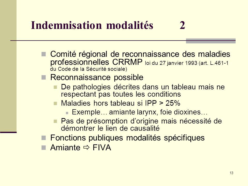 13 Indemnisation modalités2 Comité régional de reconnaissance des maladies professionnelles CRRMP loi du 27 janvier 1993 (art. L.461-1 du Code de la S