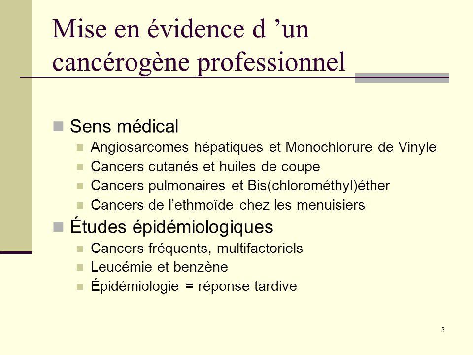 3 Mise en évidence d un cancérogène professionnel Sens médical Angiosarcomes hépatiques et Monochlorure de Vinyle Cancers cutanés et huiles de coupe C