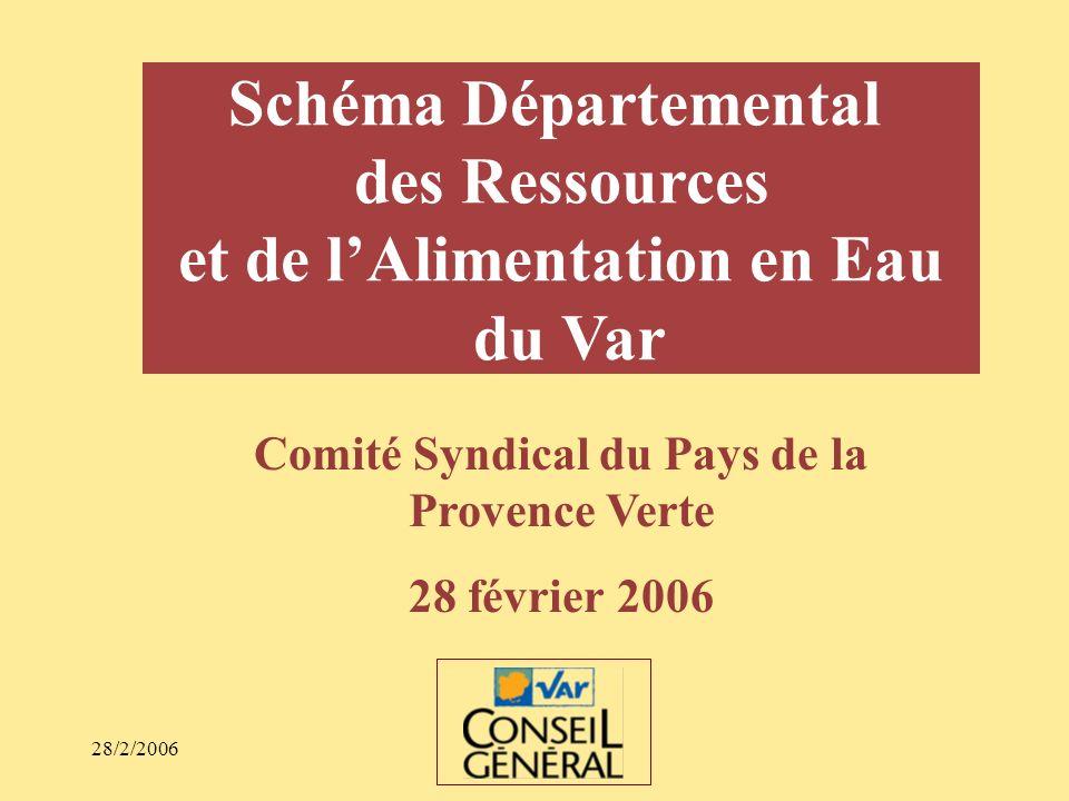 28/2/2006 Schéma Départemental des Ressources et de lAlimentation en Eau du Var Comité Syndical du Pays de la Provence Verte 28 février 2006