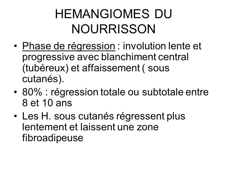 HEMANGIOMES DU NOURRISSON Phase de régression : involution lente et progressive avec blanchiment central (tubéreux) et affaissement ( sous cutanés). 8