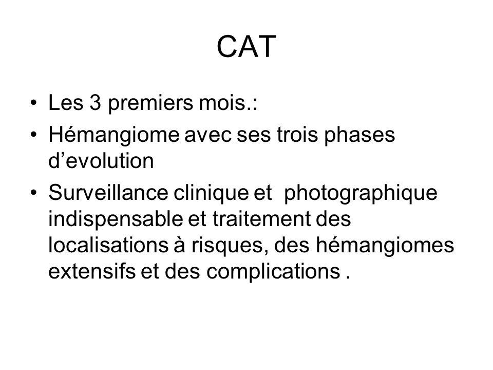 CAT Les 3 premiers mois.: Hémangiome avec ses trois phases devolution Surveillance clinique et photographique indispensable et traitement des localisa
