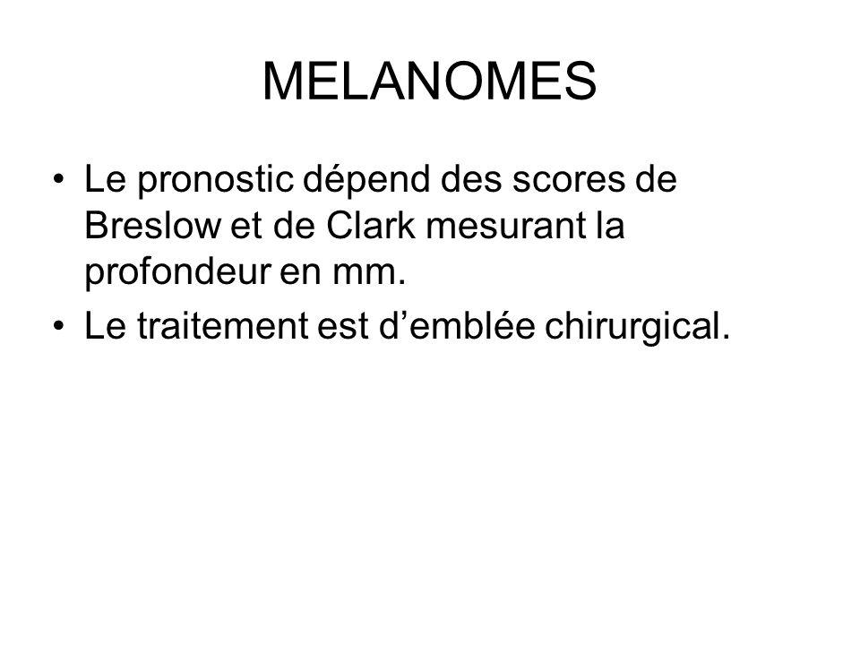 MELANOMES Le pronostic dépend des scores de Breslow et de Clark mesurant la profondeur en mm. Le traitement est demblée chirurgical.