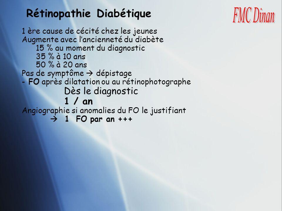 Rétinopathie Diabétique 1 ère cause de cécité chez les jeunes Augmente avec lancienneté du diabète 15 % au moment du diagnostic 35 % à 10 ans 50 % à 2