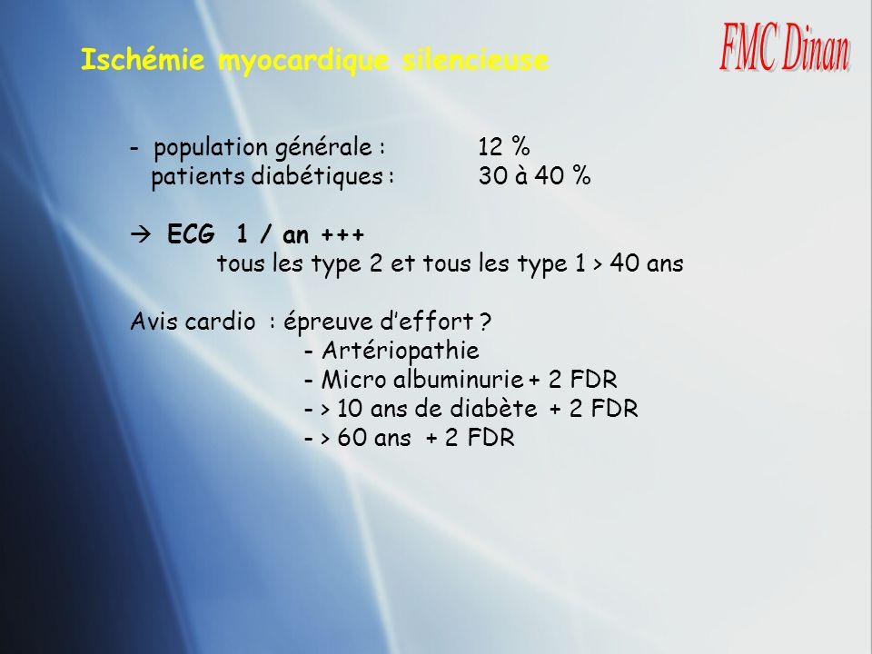Ischémie myocardique silencieuse - population générale : 12 % patients diabétiques :30 à 40 % ECG 1 / an +++ tous les type 2 et tous les type 1 > 40 a
