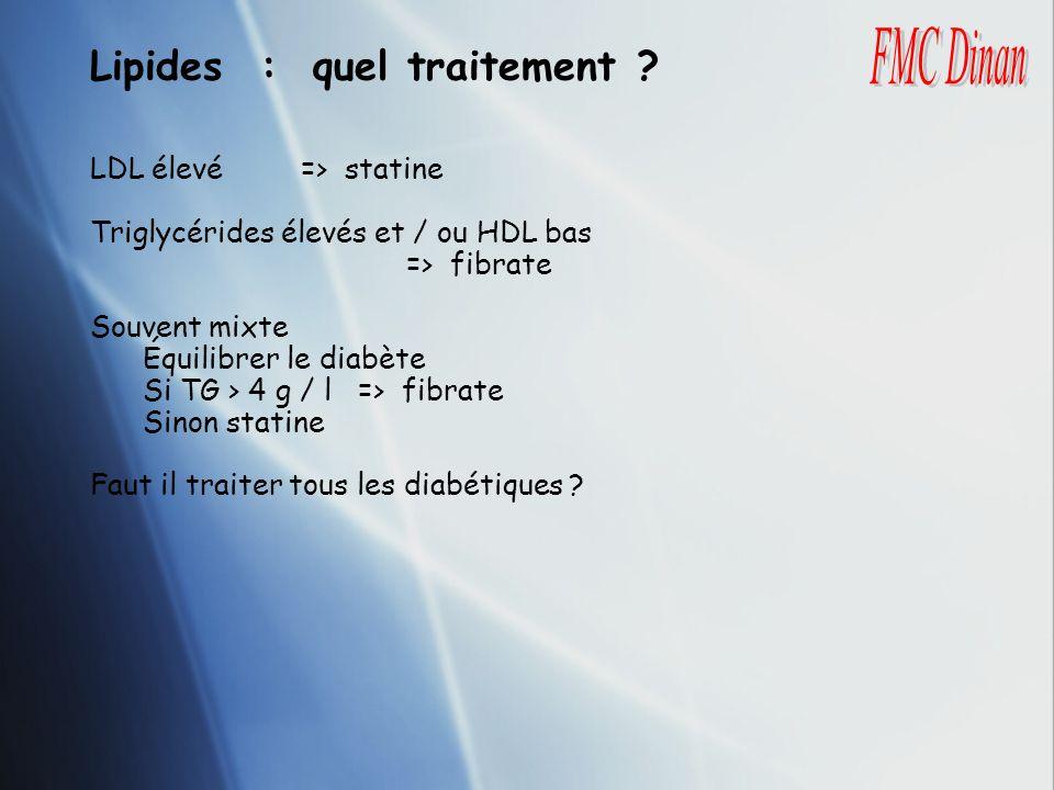 Lipides : quel traitement ? LDL élevé => statine Triglycérides élevés et / ou HDL bas => fibrate Souvent mixte Équilibrer le diabète Si TG > 4 g / l =