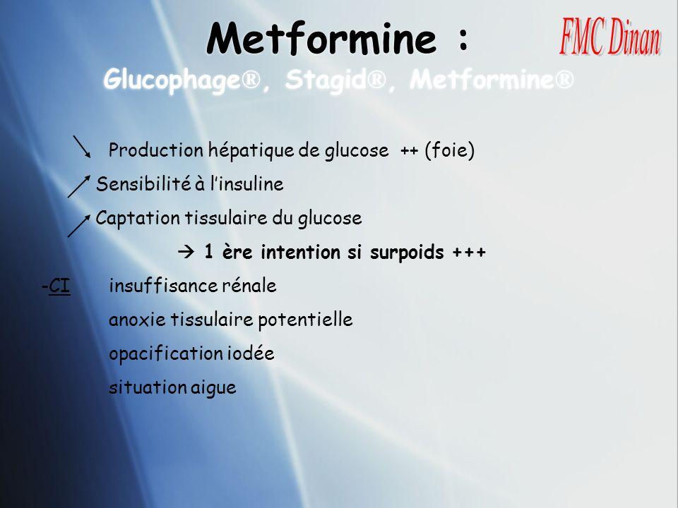 Metformine : Glucophage ®, Stagid ®, Metformine ® Production hépatique de glucose ++ (foie) Sensibilité à linsuline Captation tissulaire du glucose 1