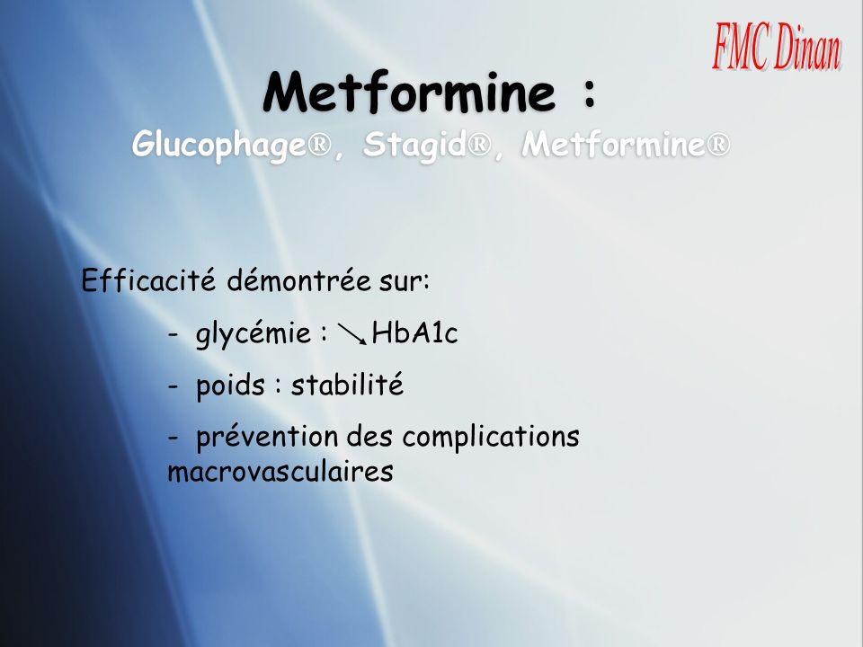 Metformine : Glucophage ®, Stagid ®, Metformine ® Efficacité démontrée sur: - glycémie : HbA1c - poids : stabilité - prévention des complications macr