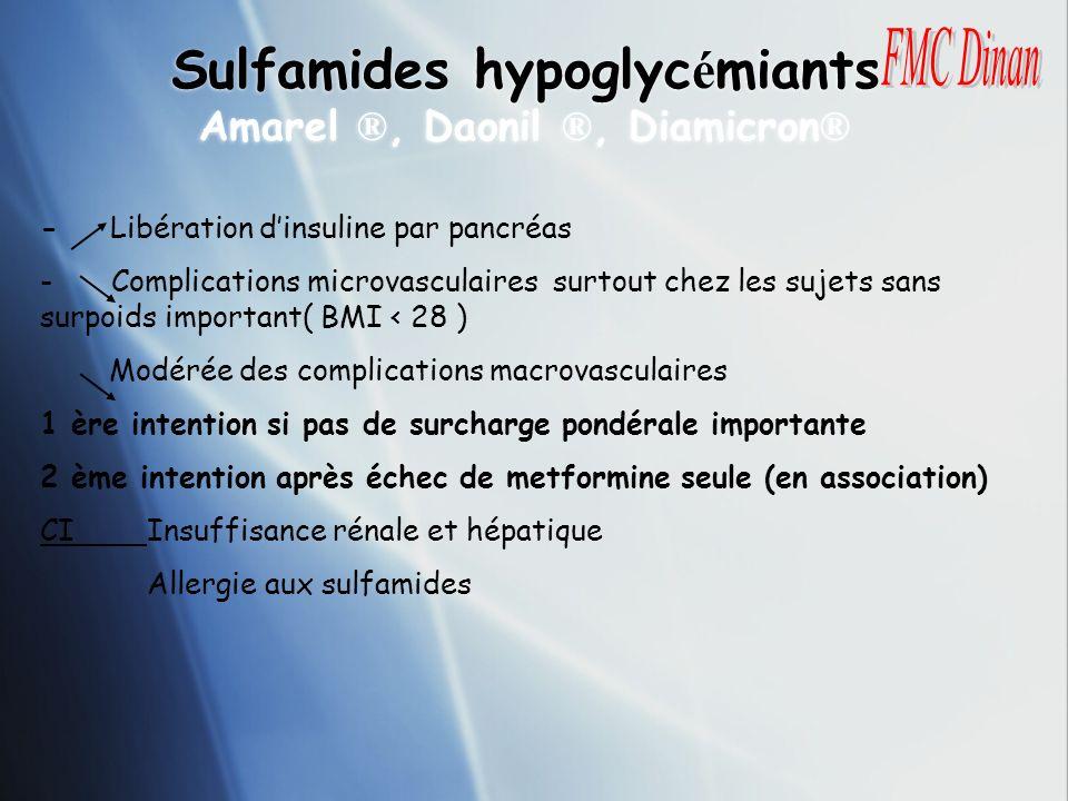 Sulfamides hypoglyc é miants Amarel ®, Daonil ®, Diamicron ® - Libération dinsuline par pancréas - Complications microvasculaires surtout chez les suj