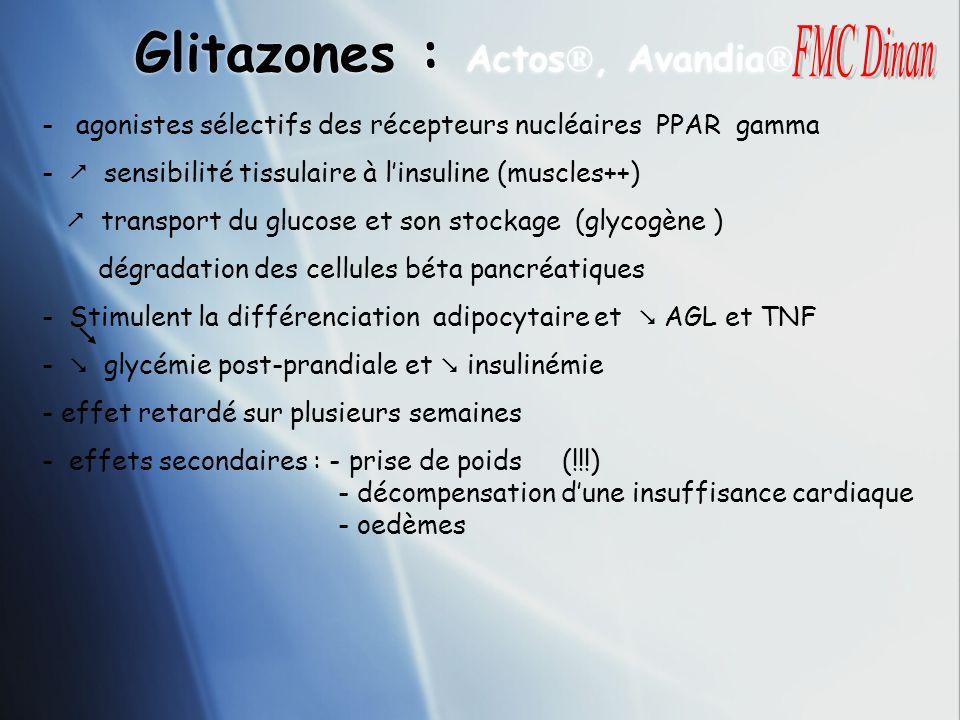 Glitazones : Actos ®, Avandia ® - agonistes sélectifs des récepteurs nucléaires PPAR gamma - sensibilité tissulaire à linsuline (muscles++) transport