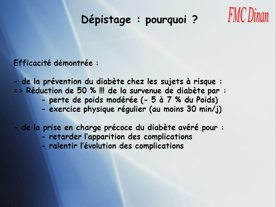 Efficacité démontrée : - de la prévention du diabète chez les sujets à risque : => Réduction de 50 % !!! de la survenue de diabète par : - perte de po