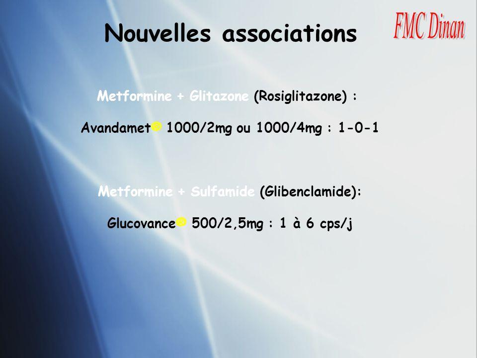 Nouvelles associations Metformine + Glitazone (Rosiglitazone) : Avandamet® 1000/2mg ou 1000/4mg : 1-0-1 Metformine + Sulfamide (Glibenclamide): Glucov