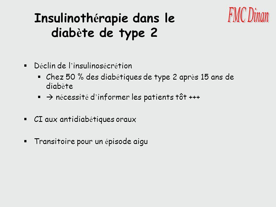 Insulinoth é rapie dans le diab è te de type 2 D é clin de l insulinos é cr é tion Chez 50 % des diab é tiques de type 2 apr è s 15 ans de diab è te n