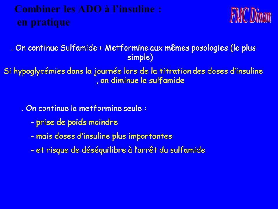 Combiner les ADO à linsuline : en pratique. On continue Sulfamide + Metformine aux mêmes posologies (le plus simple) Si hypoglycémies dans la journée