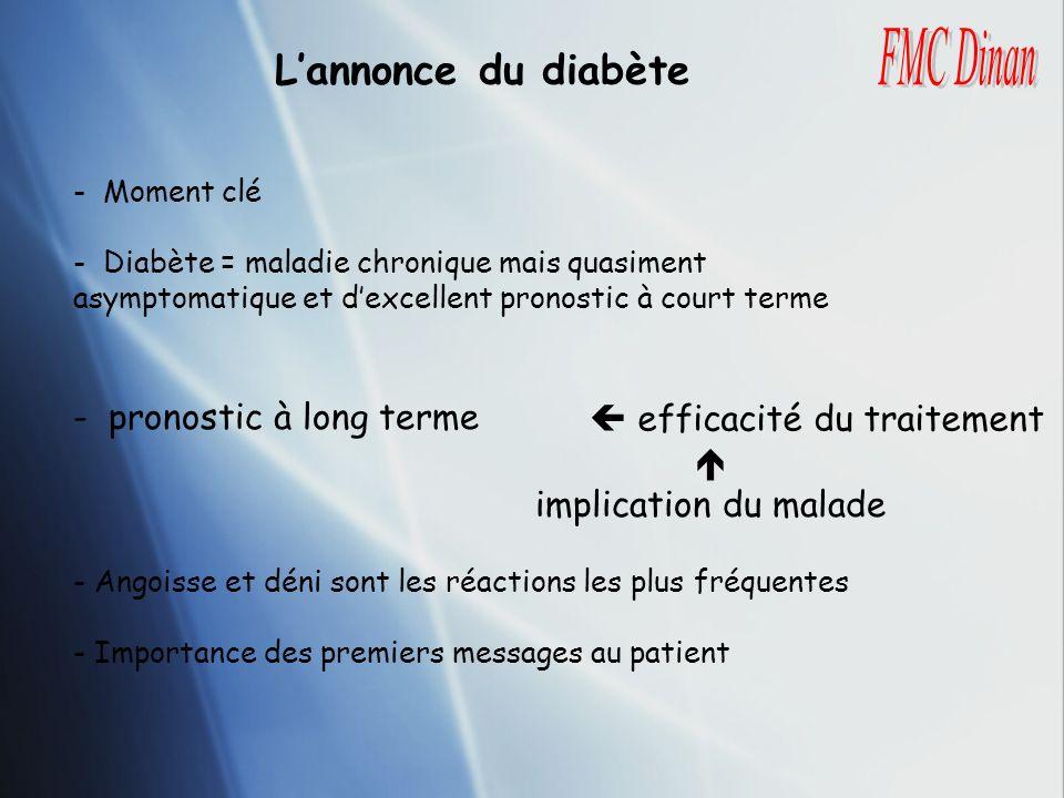 Lannonce du diabète - Moment clé - Diabète = maladie chronique mais quasiment asymptomatique et dexcellent pronostic à court terme - pronostic à long