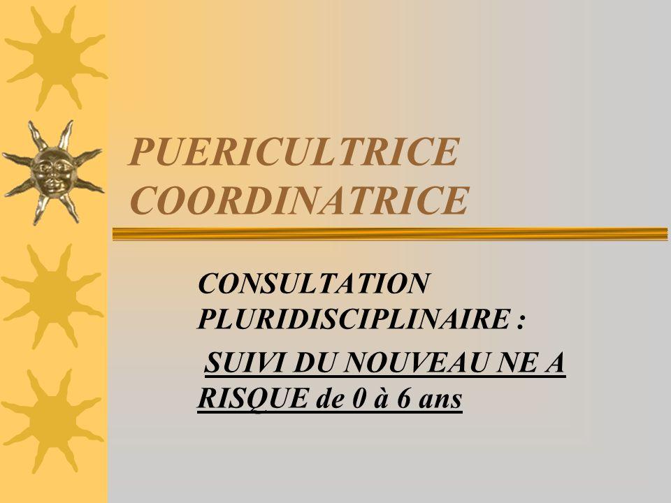 PUERICULTRICE COORDINATRICE CONSULTATION PLURIDISCIPLINAIRE : SUIVI DU NOUVEAU NE A RISQUE de 0 à 6 ans