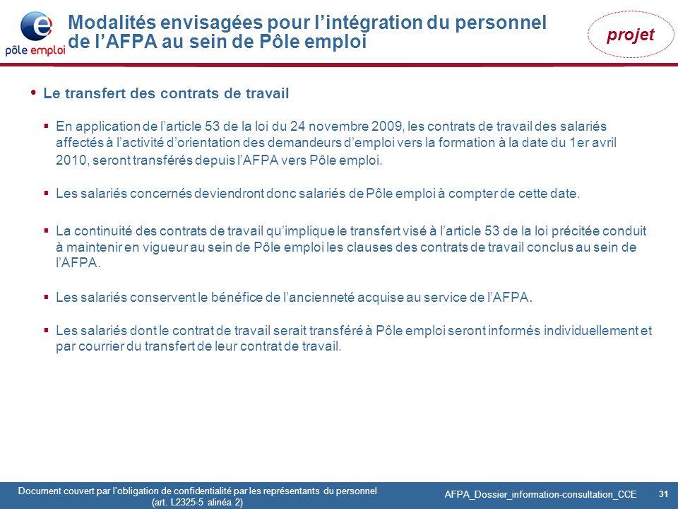 31 Pôle emploi Centre Fiches des instances Version Codir du 9 janvier 2009 31 Document couvert par lobligation de confidentialité par les représentant